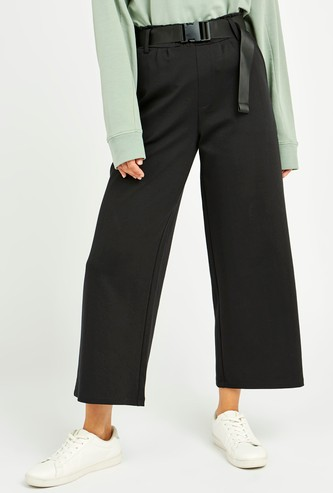 Solid Mid-Rise Palazzo Pants with Pocket Detail and Belt