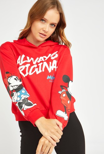 Mickey and Friends Print Sweatshirt with Long Sleeves and Hood