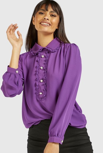Solid Collared Shirt with Long Sleeves and Frills