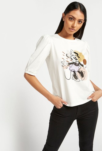 Minnie Mouse Print Top with Round Neck and Volume Short Sleeves
