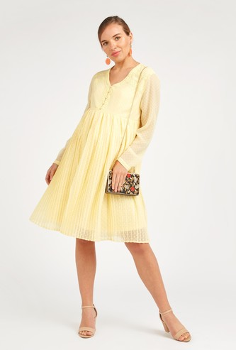 Textured Maternity Midi A-line Dress with V-neck and Long Sleeves