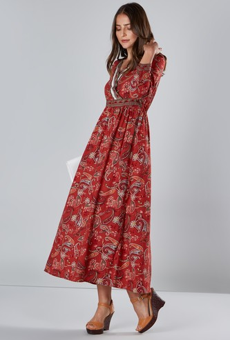 Paisley Print A-line Dress with V-neck and Long Sleeves