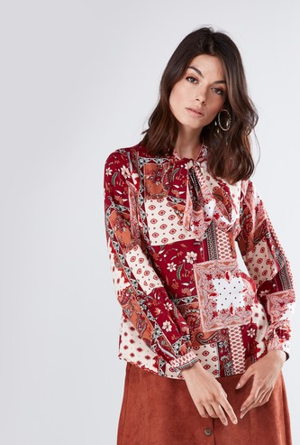 Floral Printed Blouse with Bow Neck and Long Sleeves