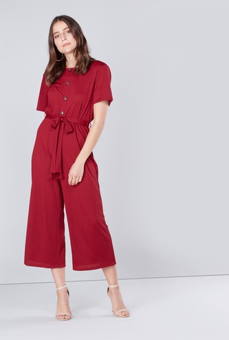 Textured Jumpsuit with Short Sleeves and Tie Ups