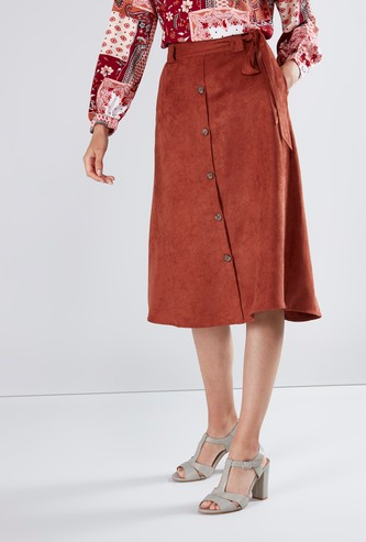 Textured Midi Skirt with Tie-Up Closure and Button Detail