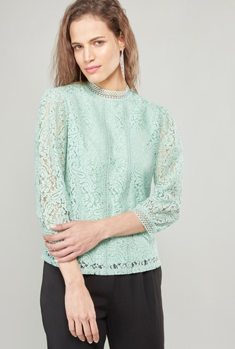 Lace High Neck Shell Top with 3/4 Sleeves