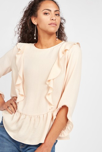 Frill Detail Peplum Top with Round Neck and 3/4 Sleeves