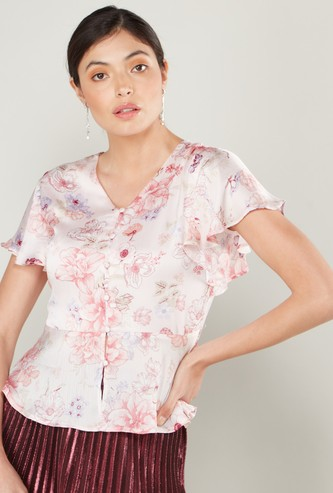 Floral Print Peplum Top with V-neck and Ruffled Cap Sleeves