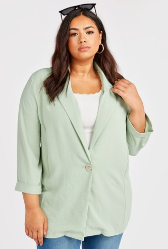 Solid Blazer Jacket with Spread Collar and Long Sleeves