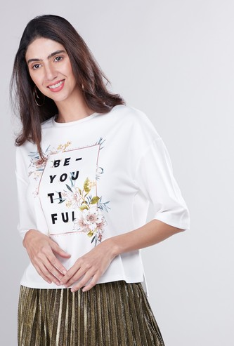Graphic Printed T-shirt with Round Neck and 3/4 Sleeves