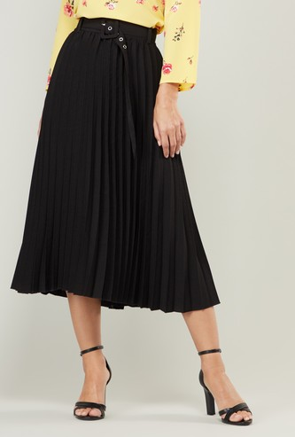 Pleat Detail A-line Skirt with Belt and Elasticised Waistband