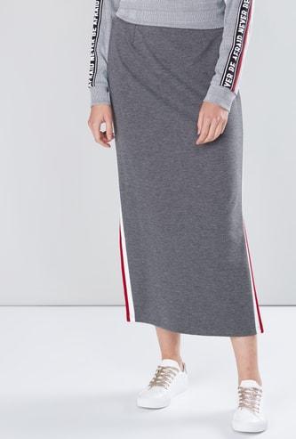 Tape Detail Midi Skirt with Elasticised Waistband