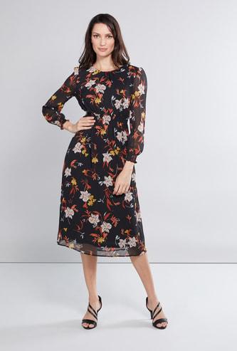 فستان إيه لاين متوسط الطول بأكمام طويلة وطبعات أزهار