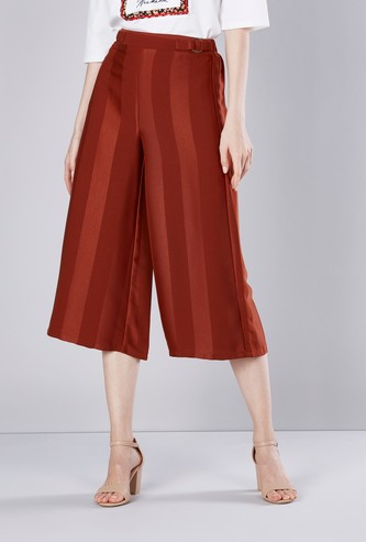 Striped Culottes with Buckle Detail and Elasticised Waistband
