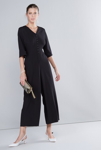 Plain V-neck Jumpsuit with 3/4 Sleeves and Button Closure
