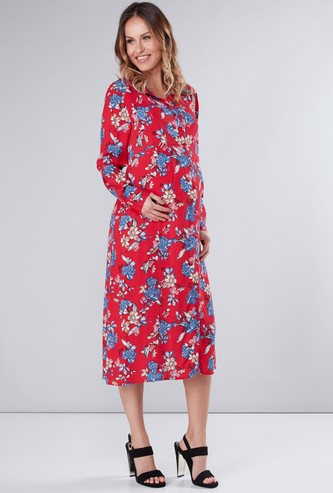 Maternity Floral Printed Shirt Dress