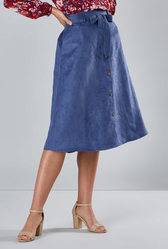 Plain A-line Midi Skirt with Pocket Detail and Tie Ups