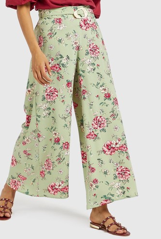 Floral Print Palazzos with Belt and Elasticised Waistband