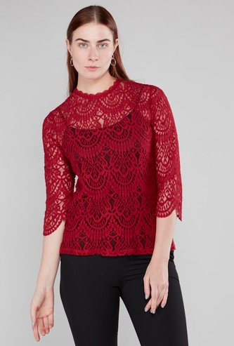 Lace Detail Round Neck Top with 3/4 Sleeves