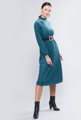 Textured Midi Shift Dress with Long Sleeves and Belt Detail