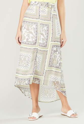 Printed Skirt with Elasticised Waistband and Belt