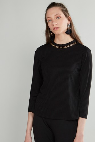 Ribbed Top with Round Neck and 3/4 Sleeves