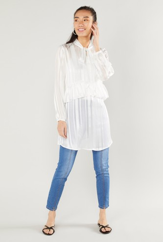 Textured Longline Sheer Top with Tie Neck Collar and Long Sleeves
