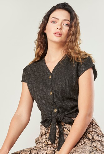Textured Top with V-neck and Knot Detail