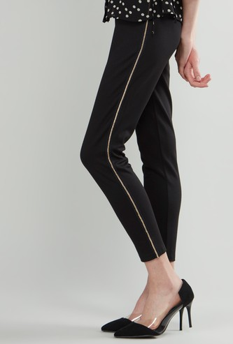 Plain Treggings with Elasticised Waistband and Embellished Tape Detail