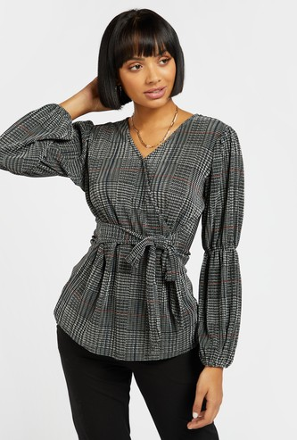 Chequered Wrap Top with V-neck and Tie Ups