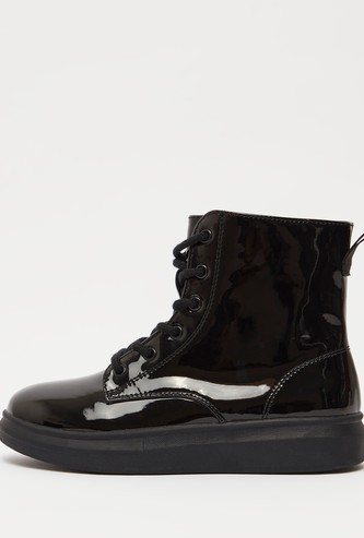 Solid Boots with Zip Closure