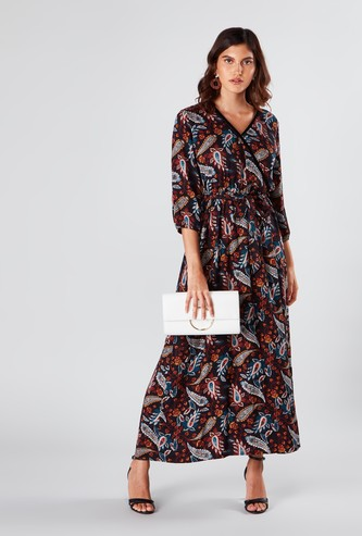Paisley Printed A-line  Maxi Wrap Dress with Tie Ups and 3/4 Sleeves