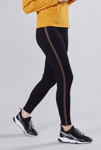 High-Waist Jegging with Glitter Tape Detail and Elasticated Waistband