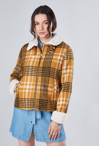 Chequered Zip Through Jacket with Fleece Collar and Cuff