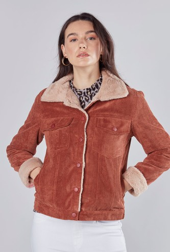 Textured Parka Jacket with Long Sleeves and Flap Pockets