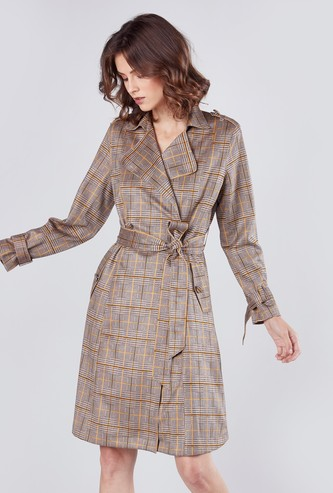 Checked Coat with Long Sleeves and Waist Belt
