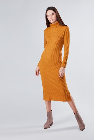 Textured A-line Midi Dress with Turtleneck and Long Sleeves