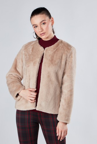 Textured Fleece Jacket with Long Sleeves