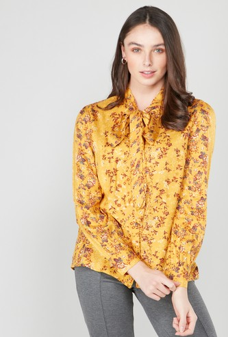 Floral Printed Top with Pussy Bow and Long Sleeves