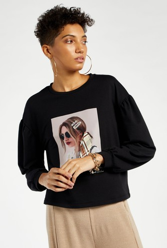 Graphic Print Cropped Sweat Top with Long Sleeves