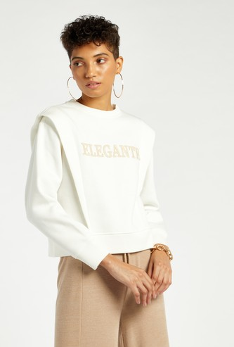 Embroidered Sweat Top with Shoulder Detail
