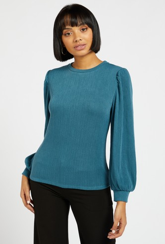 Ribbed Sweater with Long Sleeves and Round Neck