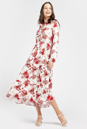 Floral Print Midi Tiered Dress with Long Sleeves