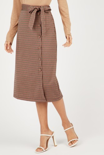 Chequered A-line Midi Skirt with Tie Ups