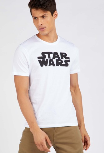 Star Wars Printed Round Neck T-shirt with Long Sleeves