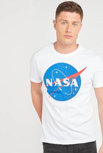 NASA Logo Print T-shirt with Short Sleeves