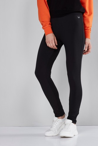 Logo Printed Solid Leggings with Elasticated Waistband