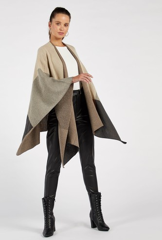Colour Block Textured Shrug with Long Sleeves