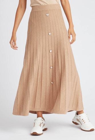 Pleated Maxi Skirt with Elasticised Waistband