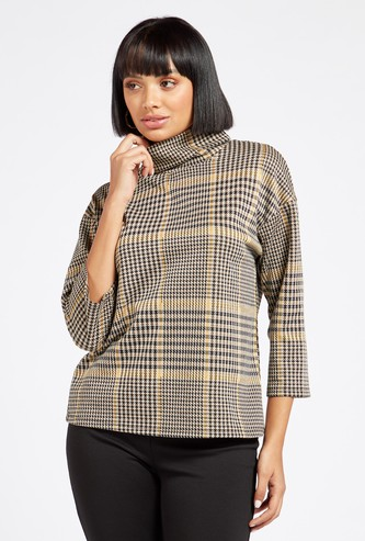 Chequered High Neck Top with 3/4 Sleeves